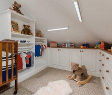 nursey room custom builtins in white melamine