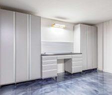 garage floor and grey cabinets