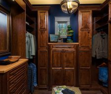 Mans wood walk-in wardrobe closet