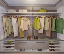 Contemporary walk-in closet white and grey