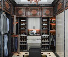 Man's built-in Asian style master bedroom walk-in