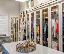 extra tall Houston closet built-ins with rolling ladder