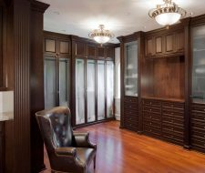 Solid wood traditional custom closet with moldings