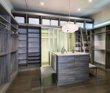 wood closet with rolling ladder and island