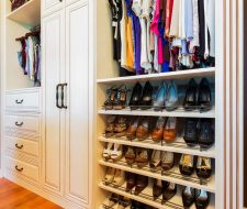 slanted shoe shelves in closet