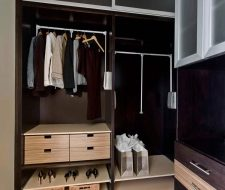 mixed material custom closet with drawers
