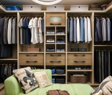 floating drawers in wood closet
