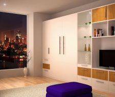wall unit with built-in bed
