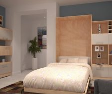 wood wall bed cabinet open