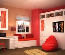 closed side fold wall bed with custom cabinets