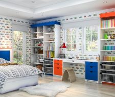 red, white and blue shelving wall unit