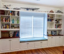 wall unit with window seat