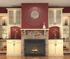 niche cabinets and fireplace surround