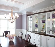white wall unit in dining room