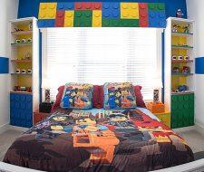 lego theme child bedroom custom shelving
