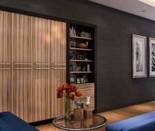 commercial office zebrawood niche wall unit