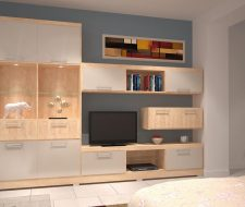 maple and melamine wall unit with glass shelves