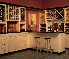 home bar and builtin cabinets