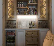 rustic knotty pine wine bar