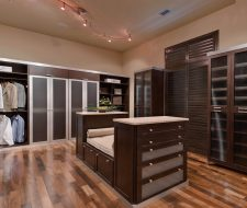 wood and metal wardrobe walkin closet
