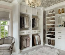 Antique white custom painted walk-in closet for her