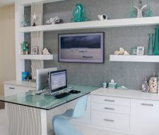 ultr modern home office in painted wood and glass