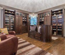 luxury wood wardrobe with curved island