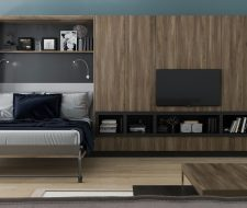 Textured materials for modern wall bed system